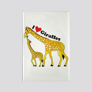 I Love Giraffes Rectangle Magnet